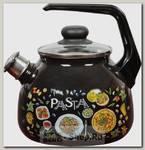 Чайник со свистком СтальЭмаль Pasta 4с209/я 3 литра, эмалированный