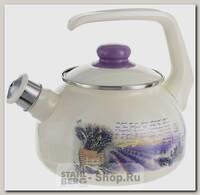 Чайник со свистком Metrot Лаванда 129646 2.5 литра, эмалированный