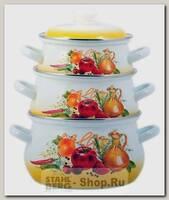 Набор эмалированных кастрюль Лысьвенские эмали Итальянская кухня С-129АП2/7, 6 предметов