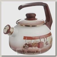 Эмалированный чайник со свистком Metrot Кухня 115432, 2.5 литра